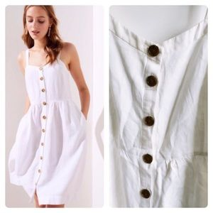 LOFT- Linen button down dress lined with white